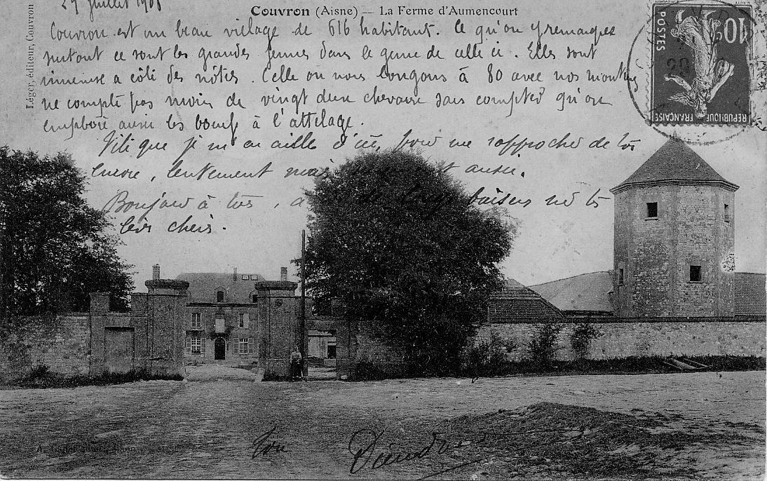 Entrée 1908 de la Ferme d'Aumencourt