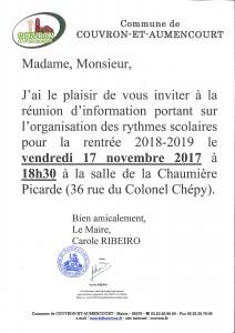 Réunion rythmes scolaires 2018-2019 @ Salle de la Chaumière Picarde - 36 rue du Colonel Chépy | Couvron-et-Aumencourt | Hauts-de-France | France