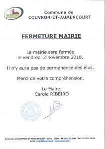 MAIRIE FERMÉE