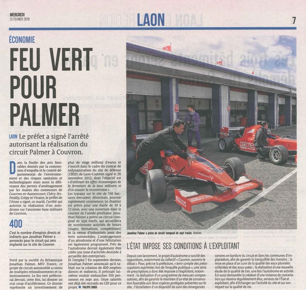 Feu Vert pour PALMER - L'Union du 13 février 2019