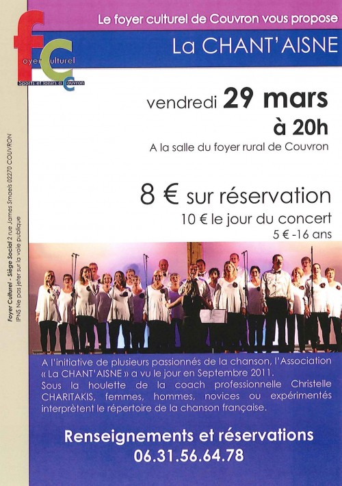 Concert de La CHANT'AISNE @ Foyer Rural