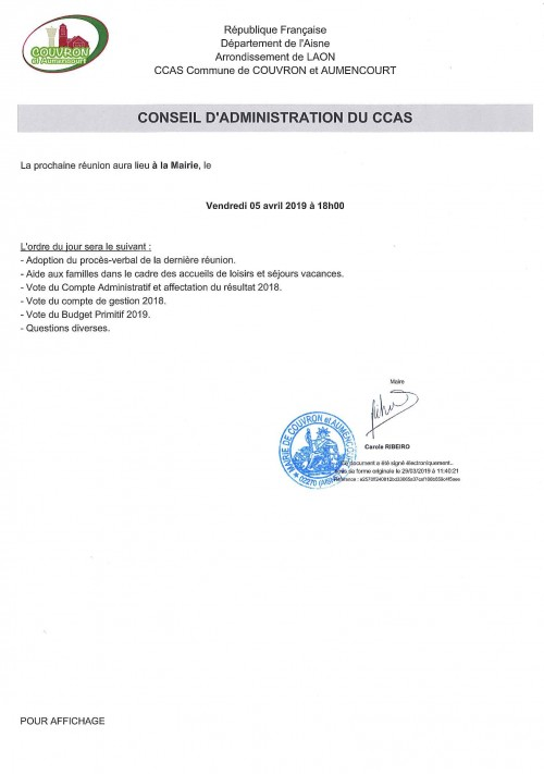 Conseil d'Administration du CCAS @ Mairie