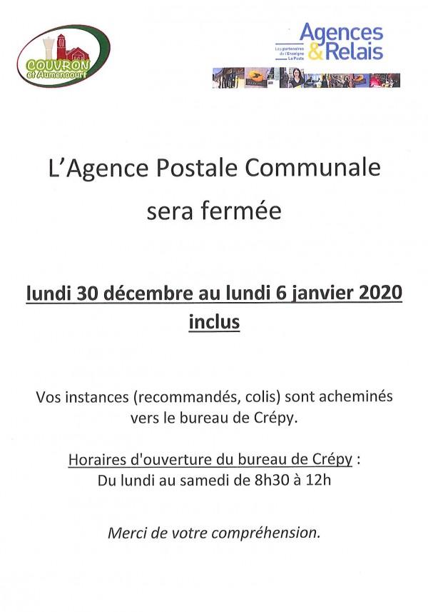 Fermeture Agence Postale