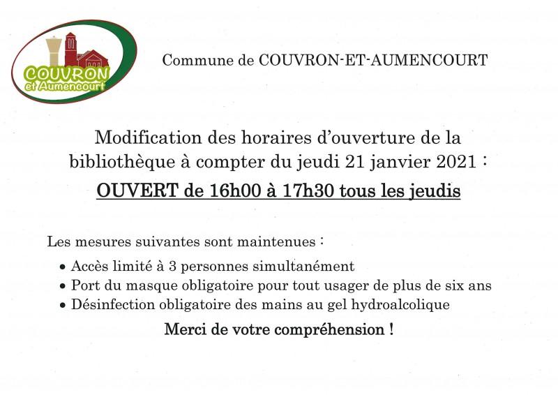 Bibliothèque Horaires COVID
